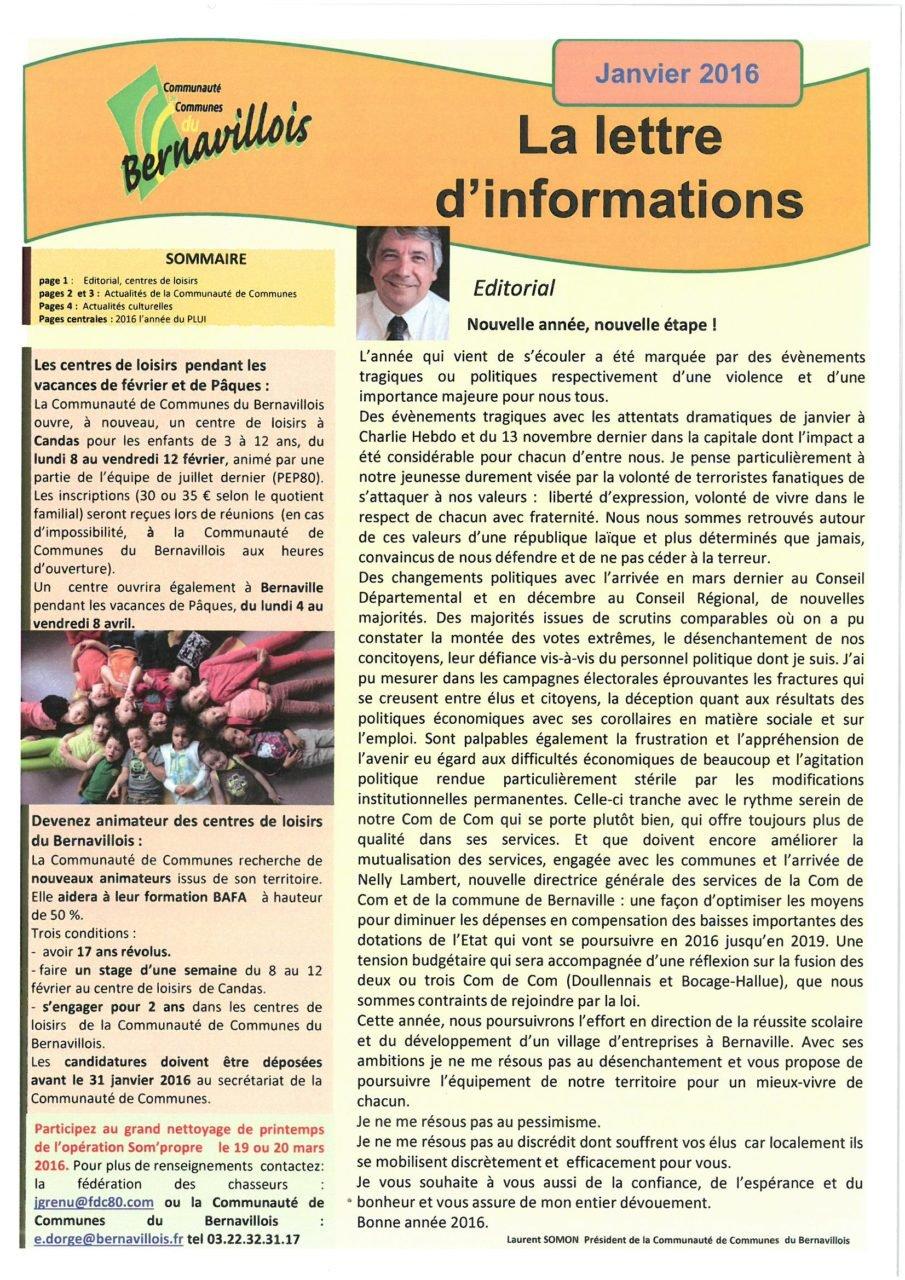 Lettre d'informations