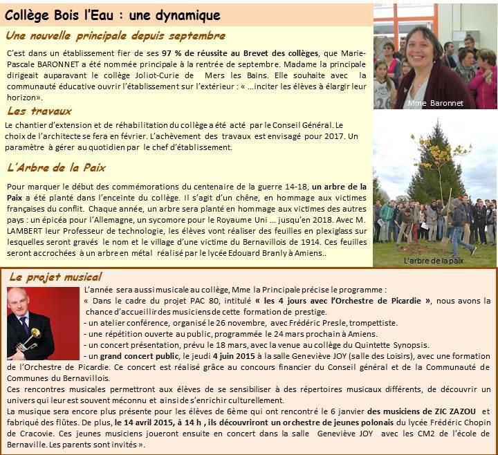 Collège Bois leau  Communauté de communes du Bernavillois ~ College Bois D Orceau